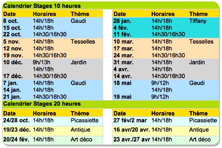 Calendrier stages mosaïque à Bordeaux